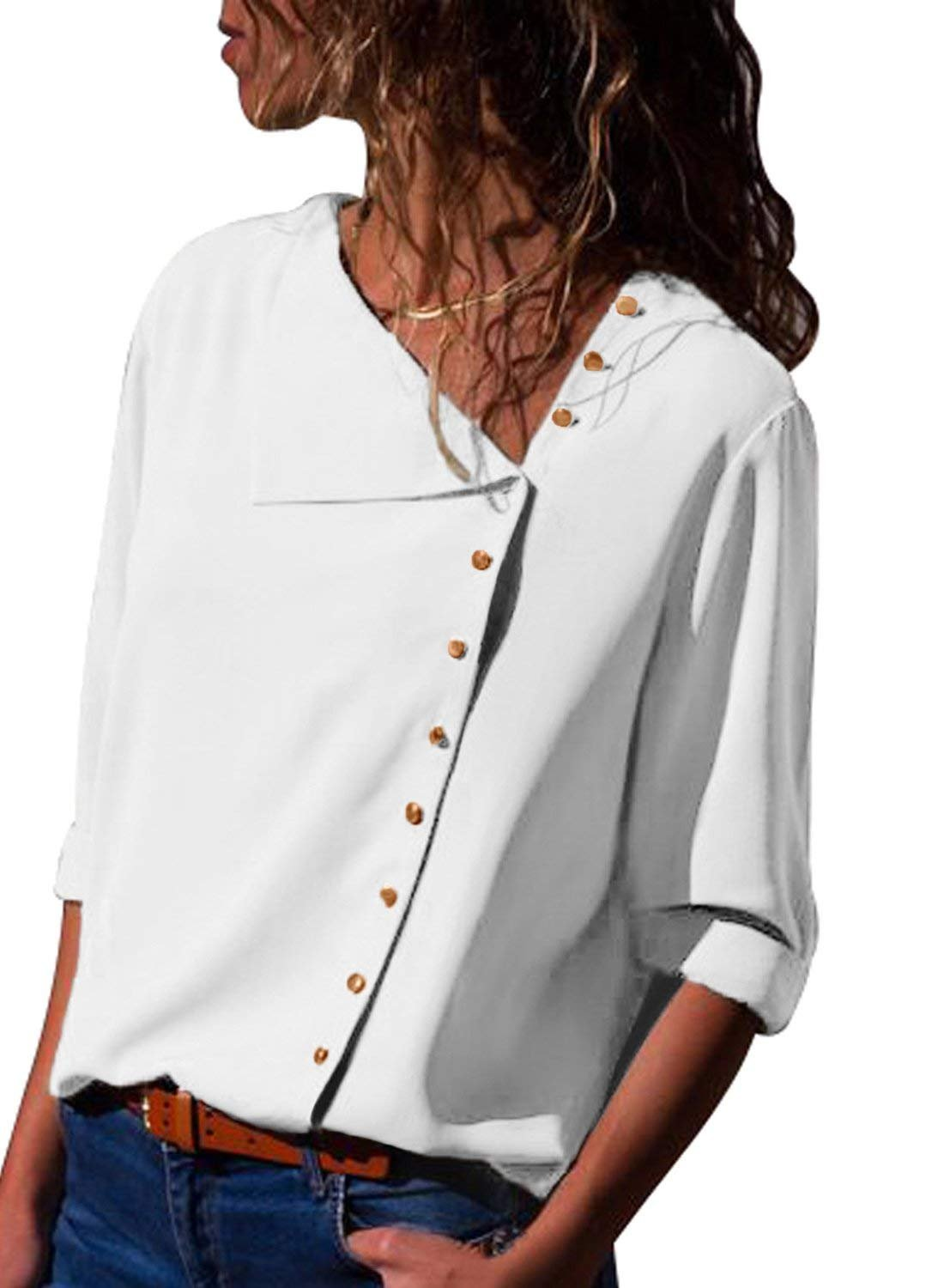 BETTE BOUTIK Women's Slanted Cardigan Sheath Fitting Blouses Button Up Shirts White Small