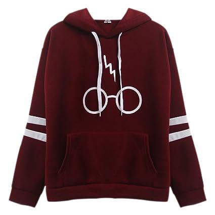 BOZEVON Mujeres Sudaderas con Capucha Tops Varsity Gafas de Harry Potter Encapuchado Camisa Camisetas Manga Larga, Rojo: Amazon.es: Ropa y accesorios