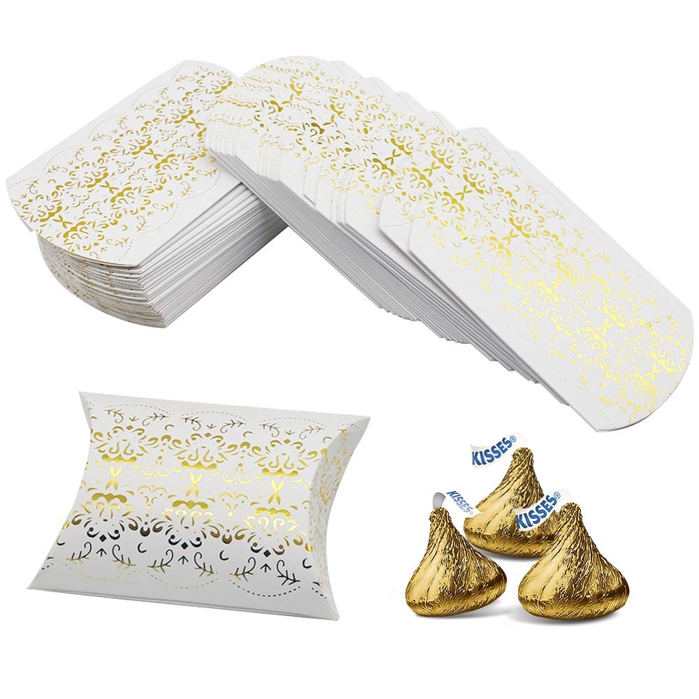100pcs Gold Pillow Box,Kraft Paper Pillow Boxes Candy Treat Gift Boxes for Wedding Bridal Shower Baby Shower Birthday Party Supplies