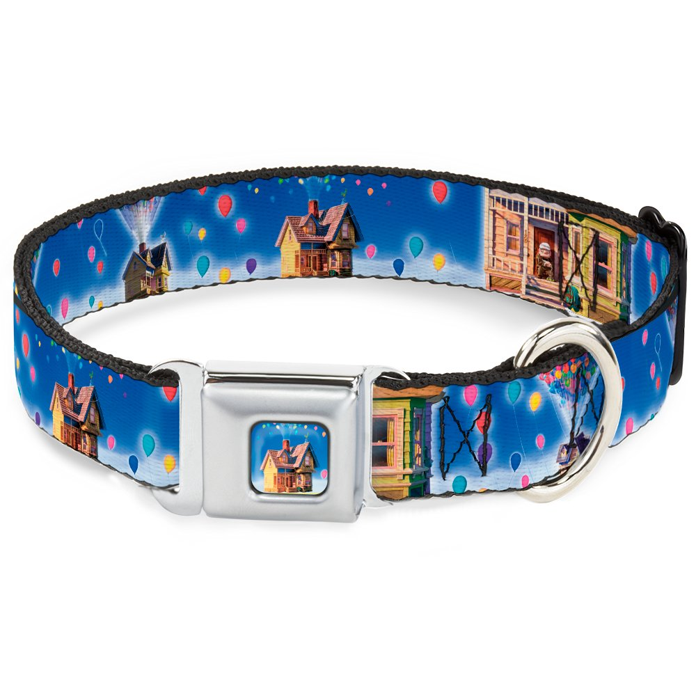 Buckle-Down Seatbelt Buckle Dog Collar Up Carl on Porch Flying House Balloons