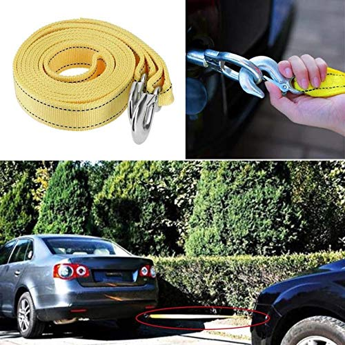 Oscenlife 4m//13ft 5 Tons Car Van Tow Rope Heavy Duty Road Recovery Pull Towing Strap Reinforced Casting Winch with Hooks Auto Accessories