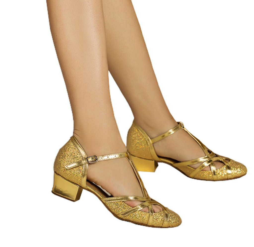 CRC Women's Round Toe T-Strap Gold PU Leather Glitter Material Ballroom Morden Tango Salsa Professional Dance Shoes 8.5 M US