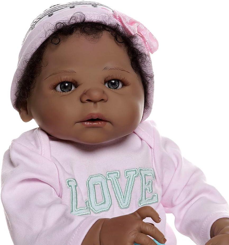 Pinky Reborn African American Reborn Baby Girl Doll in Black Full Body Soft Silicone Bebe Doll Reborn Bath Toy Anatomically Correct 56CM