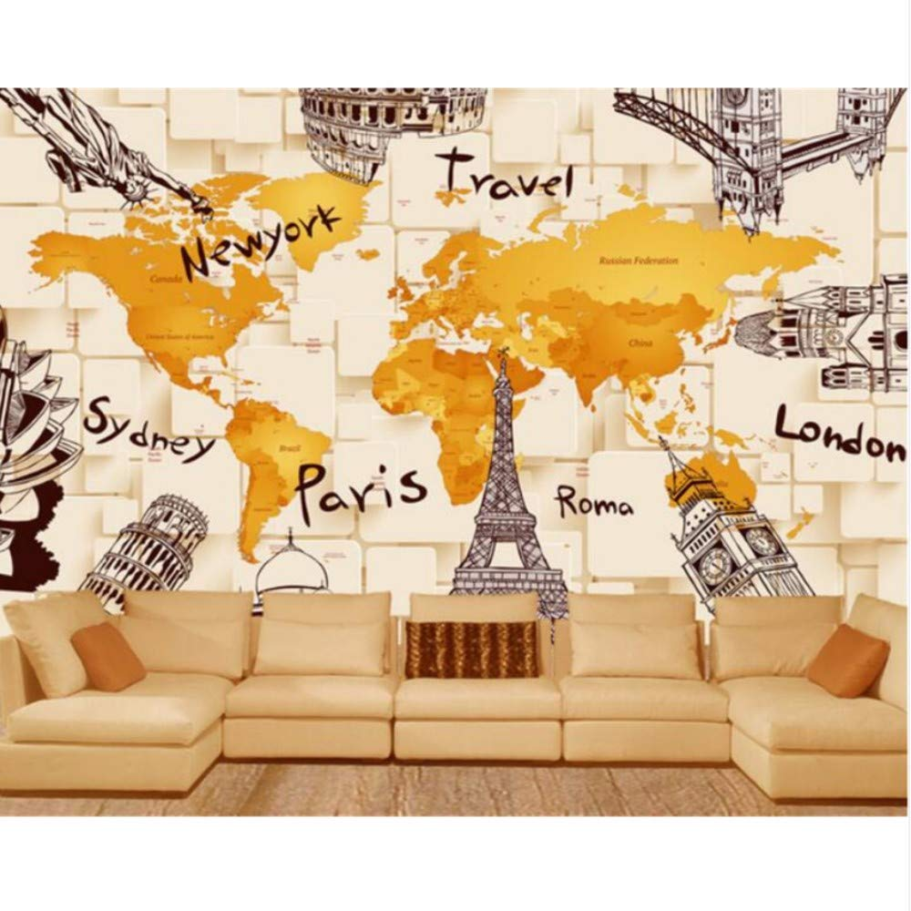 Pbldb 3D Architecture World Map Mural Background Wall Living Room Bedroom Tv Background Mural -280X200Cm