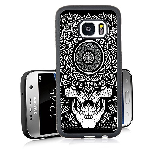 Galaxy S7 Case Personalized Design Samsung Galaxy S7 TPU Black Cell Phone Case Black and white skull