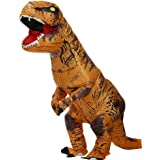 Zi Xi & Zi Qi T-Rex Alien nadmuchiwana maska na dinozaur na imprezę, kostium dla dorosłych (Classic Brown)