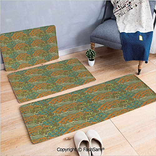 FashSam 3 Piece Non Slip Flannel Door Mat Harvest Season Meadow Rural Wheat Peacock Leaves Foliage Illustration Indoor Carpet for Bath Kitchen(W15.7xL23.6 by W19.6xL31.5 by W19.6xL59)