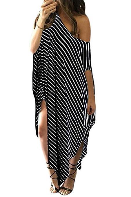Nuevas señoras negro Skew cuello off-Shoulder rayas asimétrico dobladillo Maxi vestido de verano vestido