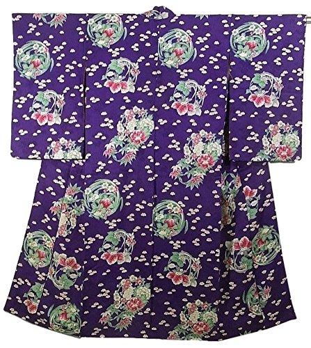 パーセントホバート整理するアンティーク 着物  古典 四季の花々 花の丸文様 正絹 袷 裄61.5cm 身丈144cm
