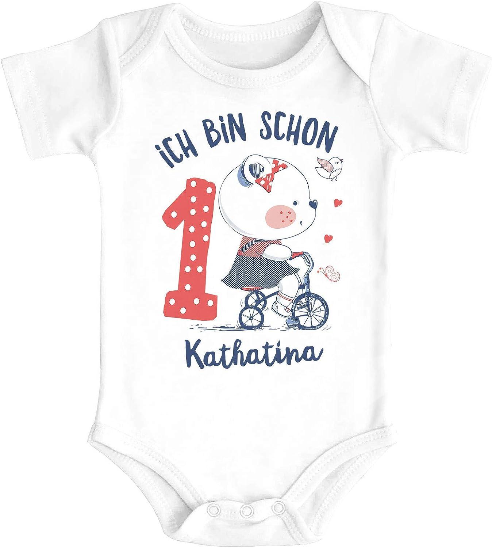 Geburtstag Kleiner B/är Geschenk M/ädchen Bio-Baumwolle SpecialMe/® Baby Body mit Namen und Zahl zum 1