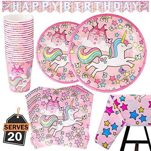 82 Piece Unicorn Party Supplies Set Including Banner, Plates, Cups, Napkins and Tablecloth - Pink Theme, Serves -