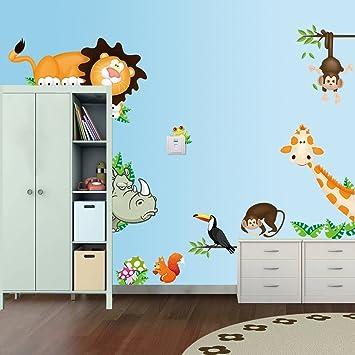 Dekoration Wandsticker Xxl Wandtattoo Tiere Kinder Lowe Giraffe Zebra Deko Kinderzimmer Mobel Wohnen Elin Pens Ac Id