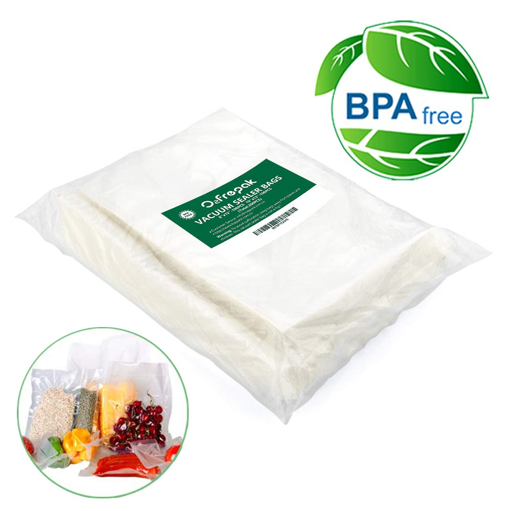 200 Vacuum Sealer Bags 100 of Each Size8''x12'' Quart and10''x13'' .Commercial Grade for Vacuum Storage Bags for Sous Vide, BPA Free and FDA Approval by O2frepak