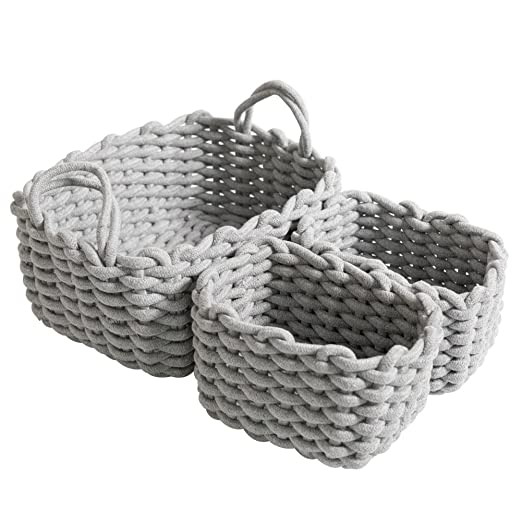 Laundry Basket Storage organizer with Handles for Toys Baby Nursery in Living Room D35 X H40cm Hivexagon Cotton Woven Storage Basket