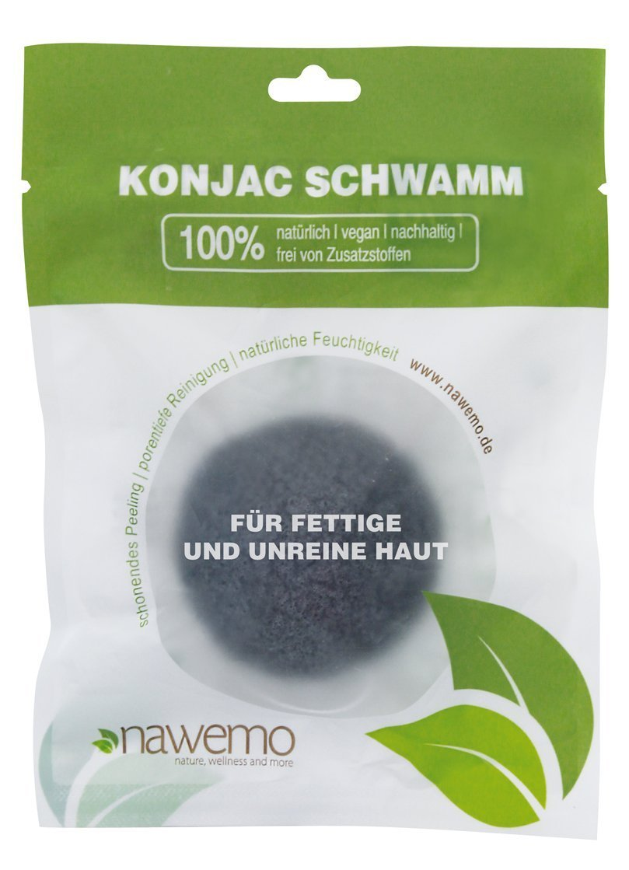 Konjac bamboo charcoal sponge for skin impurities Nawemo