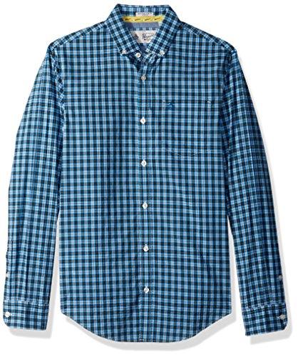 Original Penguin Men's P55 Mini Plaid Dress Shirt, Snorkel Blue, Extra (Original Button Down Dress Shirt)