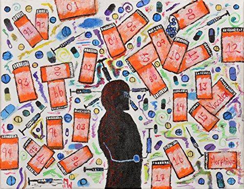 Original Art by Matt Williams, 25 Years and 25 Bottles, Wall Art, Anxiety, Depression, PTSD, Chronic Pain, Fibromyalgia, Print