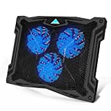 Tenswall 13''-17'' Laptop Cooling Pad with 3 Ultra-quiet Blue LED Fans, Slim Portable USB Powered Chill Mat Cooler Stand (Black)