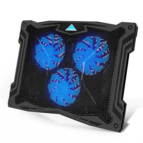 3 Notebook Fan Cooling Pad - Tenswall 13''-17'' Laptop Cooling Pad with 3 Ultra-Quiet Blue LED Fans, Slim Portable USB Powered Chill Mat Cooler Stand (Black)