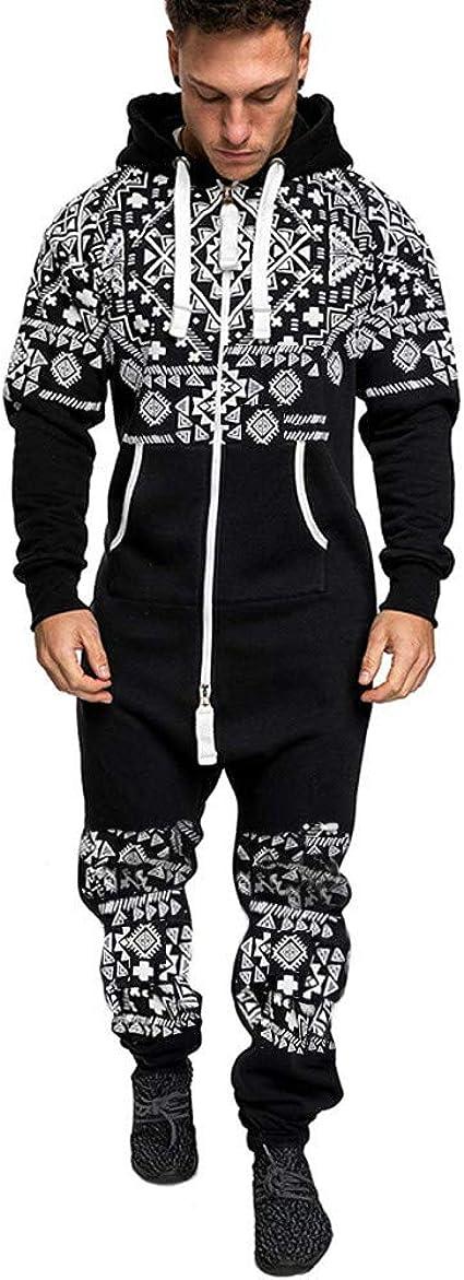 Dainzuy Mens Onesie Fashion Casual Xmas Print Hoodie Playsuit Autumn Winter Zipper Christmas Print Pullover Jumpsuit
