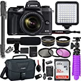 Canon EOS M5 Mirrorless Digital Camera with 18-150mm Lens + Professional Video Kit with 32GB Memory, HD Filters, Monopod, Spider Tripod, Canon Gadget Bag & More.