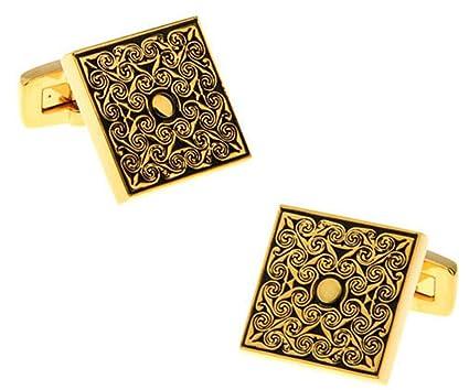 Chnuo 2pcs Mancuernas cuadradas del patrón de la rosa de oro para los regalos de la