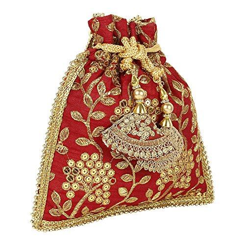 main ethnique pour main Sac à Colured femme Rouge à Collection Broderie Polti Sac qv5wxtAP