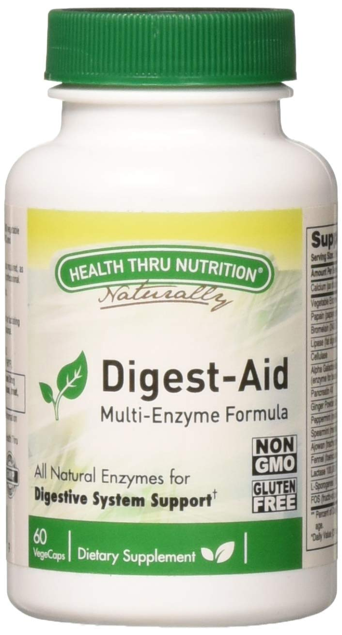 Digest-Aid Digestive Enzymes Supplement Formula (60 Capsules) by Health Thru Nutrition (Non-GMO & Soy Free)