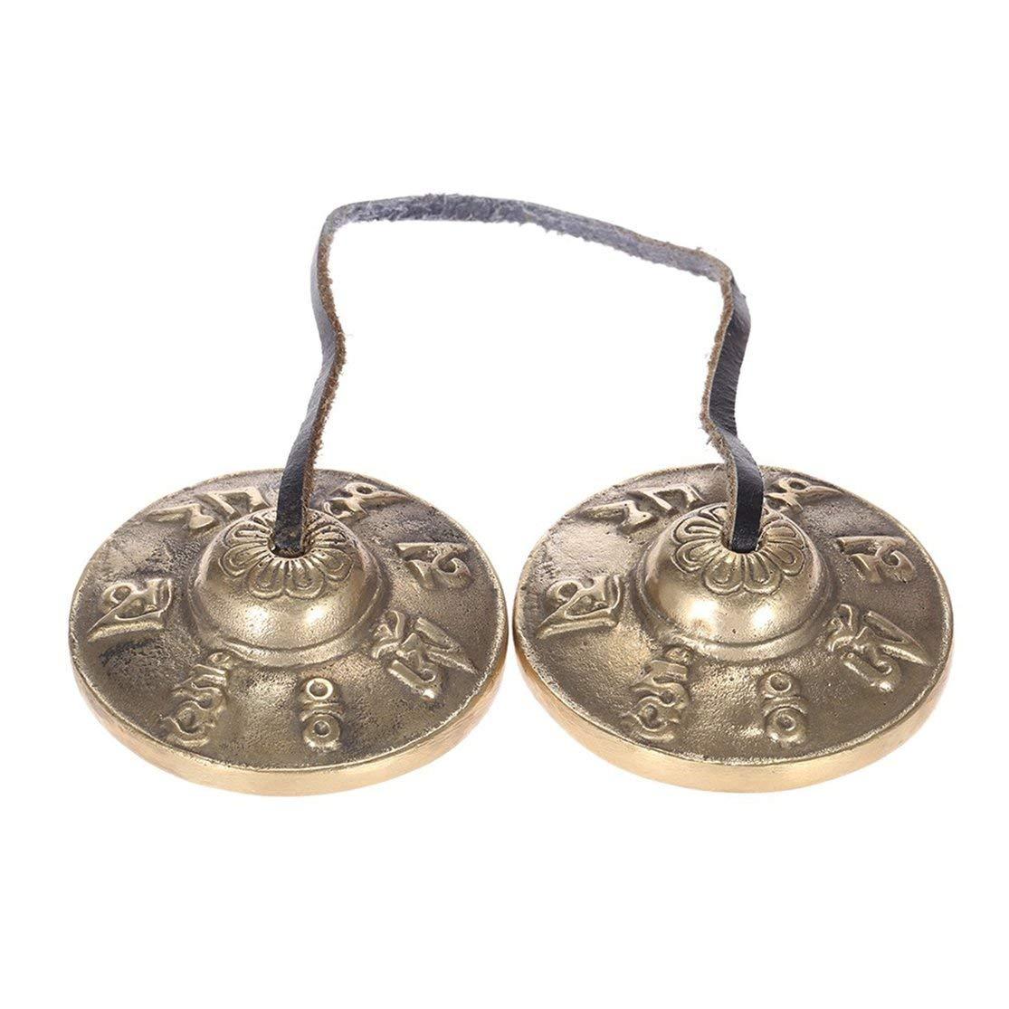 LouiseEvel215 Forfar Tingsha Campana tibetana Meditaci/ón Artesanal Platillo Campana Cobre Sonido n/ítido Lucky Symbols Templo Budista