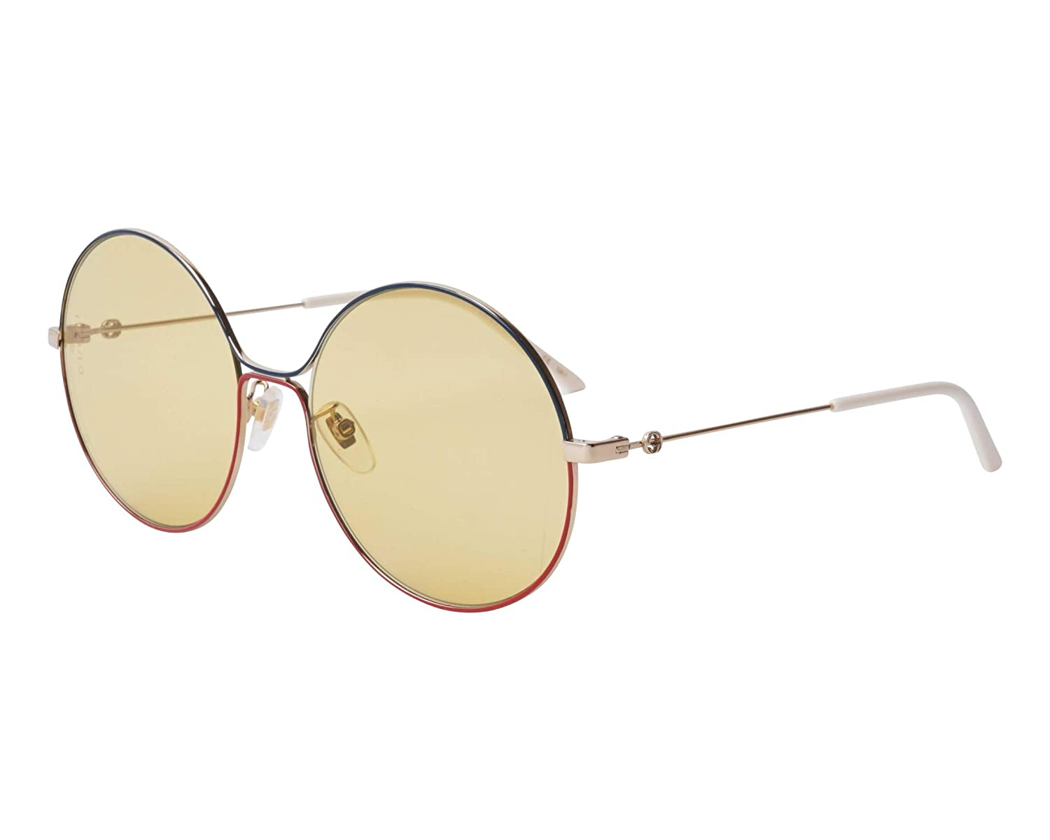 af88ce787 Amazon.com: Gucci GG 0395S 005 Green Red Gold Metal Round Sunglasses Light  Brown Lens: Clothing