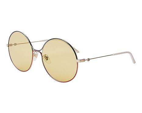 d1e592961d9 Amazon.com  Gucci GG 0395S 005 Green Red Gold Metal Round Sunglasses ...