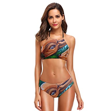 1c434f9a8dd8a Amazon.com: HEOEH Unique Animal Deer Mom Love Kid Bikini Swimwear Halter  Two Pieces Swimsuit Beach Suit for Women Girl: Clothing