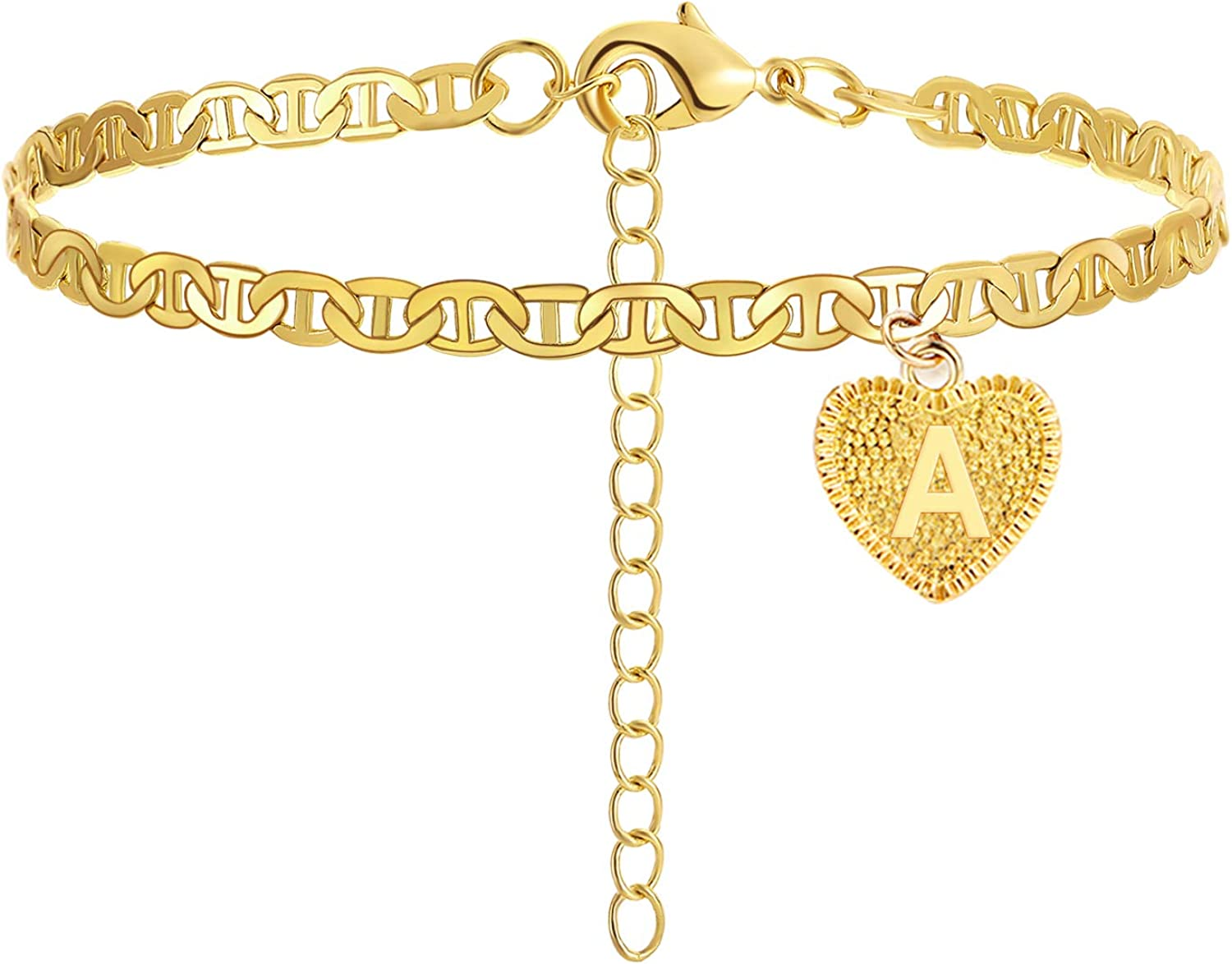 HUASAI Heart Anklet with Letter for Women Initial Ankle Bracelets for Women Gold Cuban Link Anklets