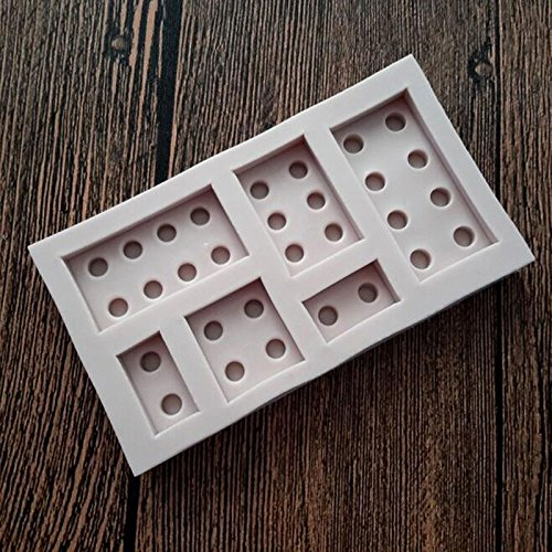 Star-Trade-Inc - 6 Cavity Domino Silicone Cake Chocolate Mould Fondant Candy Soap Mold Decorative Bakeing Tools MF387