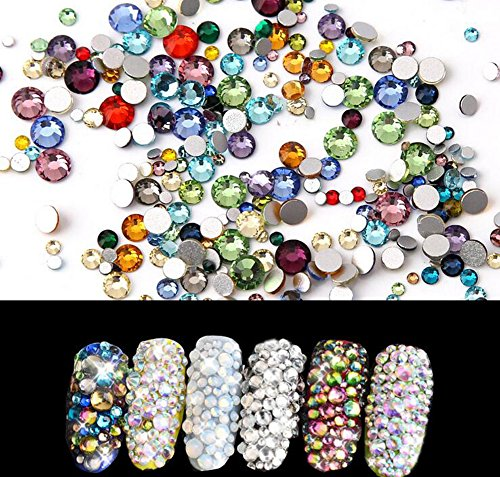 1440 PCS Mixed Colors Crystal Flatbacks Flat Back Rhinestones Round Crystal Gems for Crafts Face Body Eyes Nails Makeup Festival Carnival Mix Size 1.4 mm - 4 - Small Round Eyes