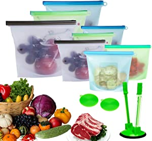 Silicone Food Bag (8 pcs) Reusable Silicone Bags Sealed Food Storage Bag/Food Grade/Versatile Silicone bags for Vegetable, Liquid, Snack, Meat, Sandwich/ECO Silicone Food Storage Bags