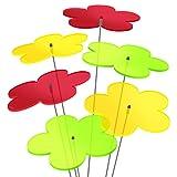 """SUNPLAY """"Sonnenfänger-Blumen"""" 6er Set - 2x Gelb, 2x Grün, 2x Rot - 6 Stück zu je 20 cm Durchmesser im Set + 70 cm Schwingstäbe"""