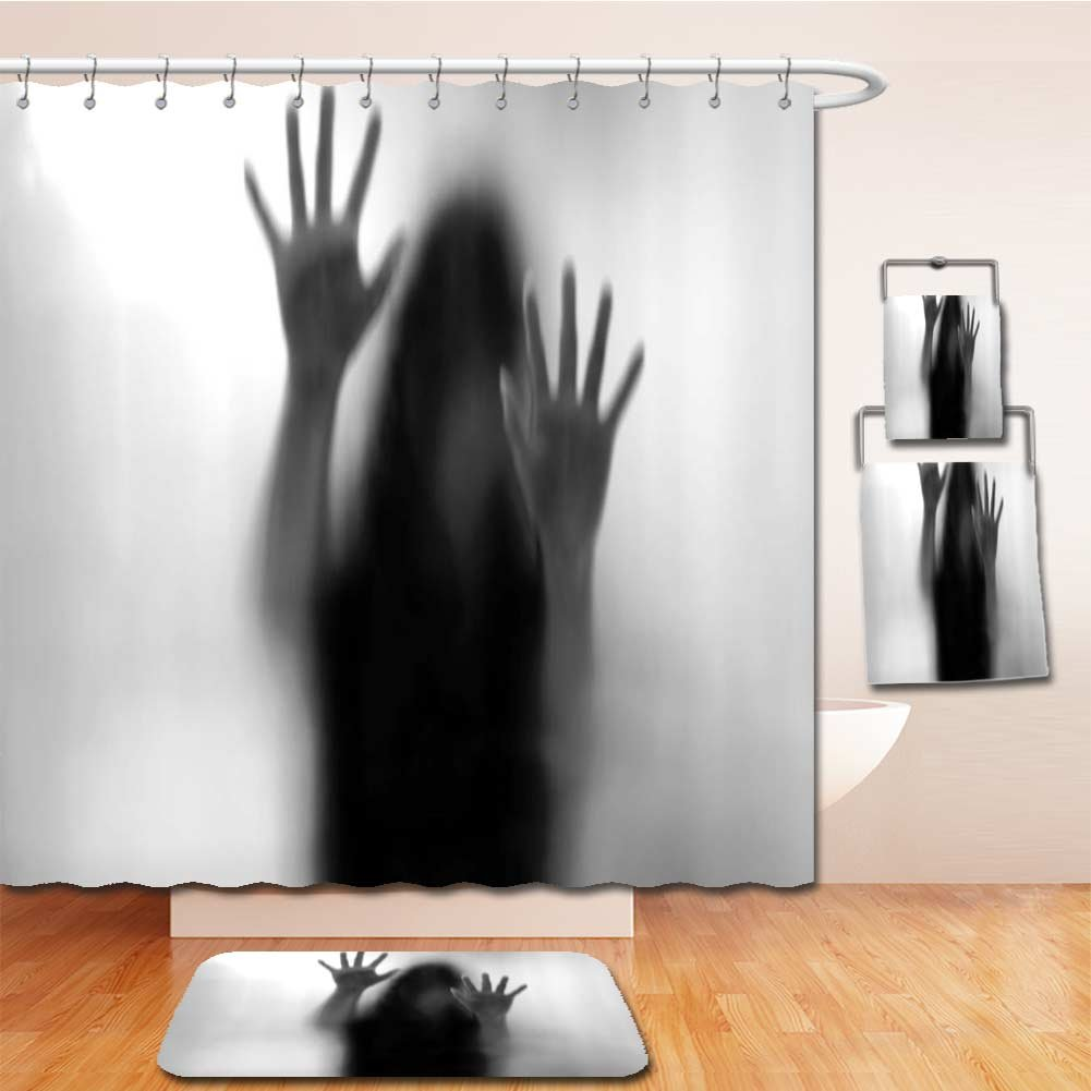 Beshowereb Bath Suit: Showercurtain Bathrug Bathtowel Handtowel Horror House Decor Silhouette of Woman behind the Veil Scared to Death Obscured Paranormal Photo Gray