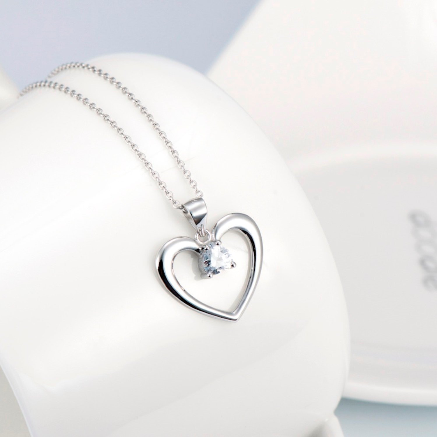 CS-DB Pendants Necklaces Silver Love Heart Luxury Jewelry Girls