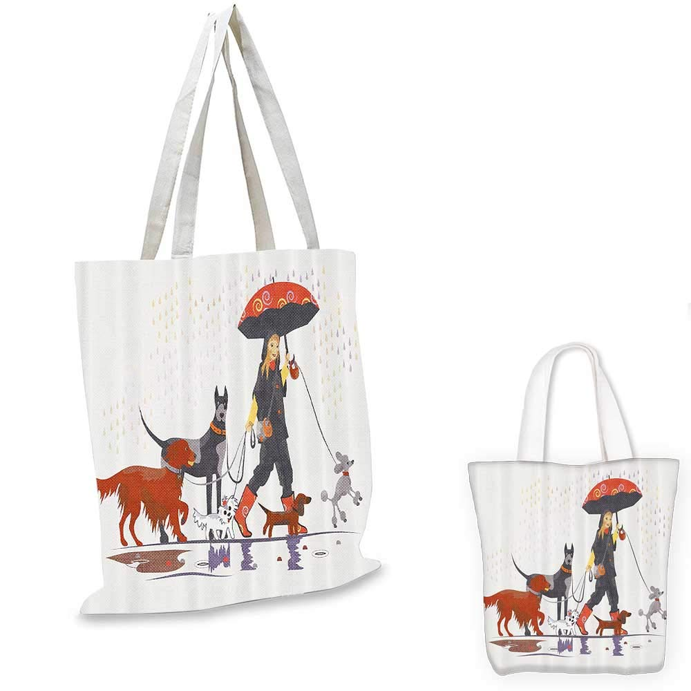 14x16-11 Dog Lover Decor canvas messenger bag Young Modern Girl Taking Pack of Dog for a Walk in the Rain Fun Joyful Times Artsy Print canvas beach bag Multi