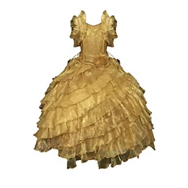 1c92f8893 Calla Collection Little Girls Gold Diagonal Ruffles Pageant Dress 2T