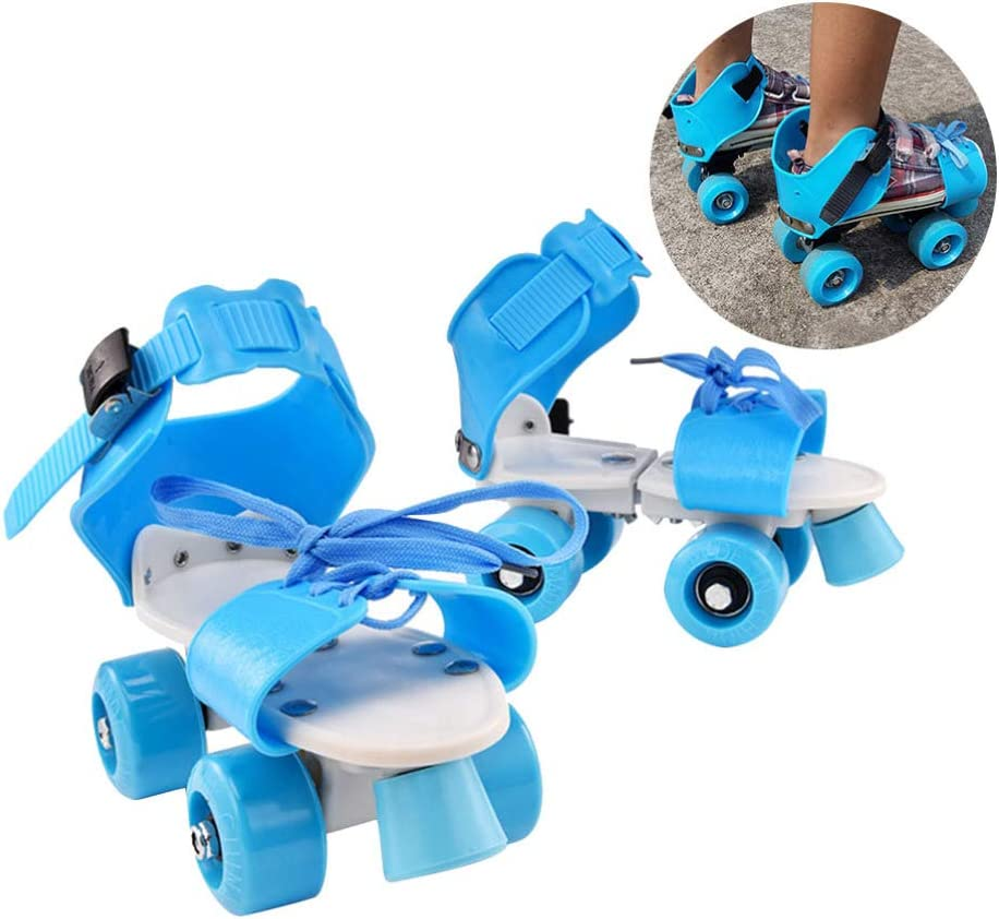 IMIKEYA 1 Pair of Skates Shoes Four Wheels Durable Adjustable Double Row Practical Skating Patins for Kids Children Skating Blue