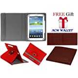 Acm Rotating 360° Leather Flip Case for Samsung Galaxy Tab 3v T116 Cover Stand Red (FREE Acm Wallet Included)