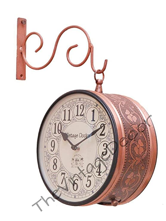 Vintage Clock Handicraft Double-Side Iron Clock (26 cm x 21 cm x 26 cm, Brown, VC-6547(8) Wall Clocks at amazon
