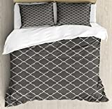 Geometric King Size Duvet Cover Set by Ambesonne, Floral Style Trellis Pattern Arabian Cultural Inspiration Curvy Motifs, Decorative 3 Piece Bedding Set with 2 Pillow Shams, Charcoal Grey White