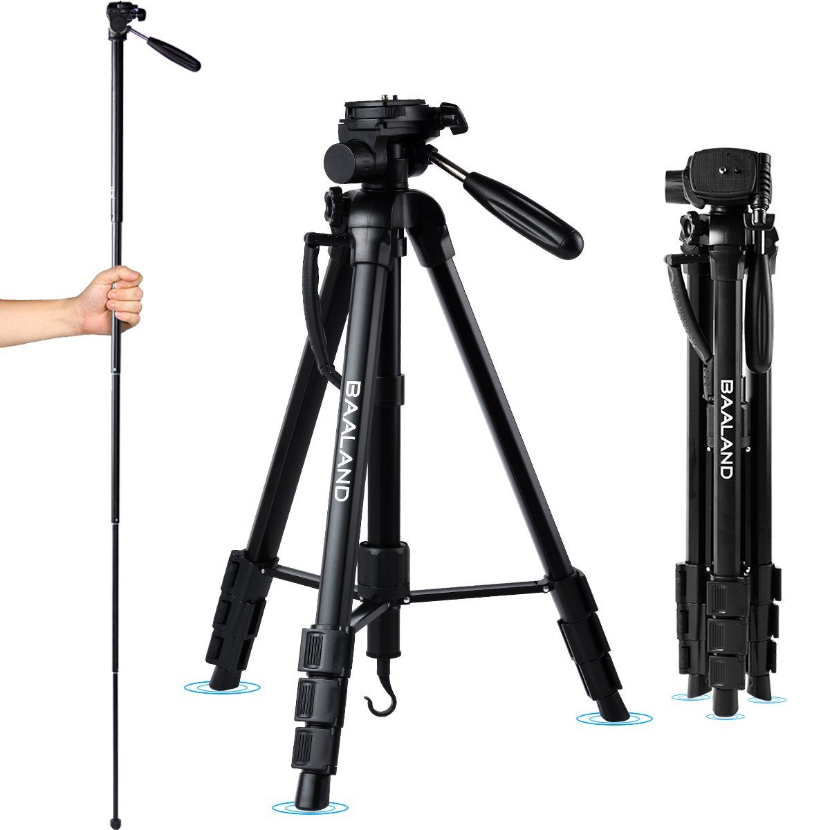BAALAND Camera Tripod 20-70 Inch Lightweight Aluminum Compact Travel Tripod for Nikon Canon DSLR Video Camera 11LBS MAX Load with Bag by BAALAND