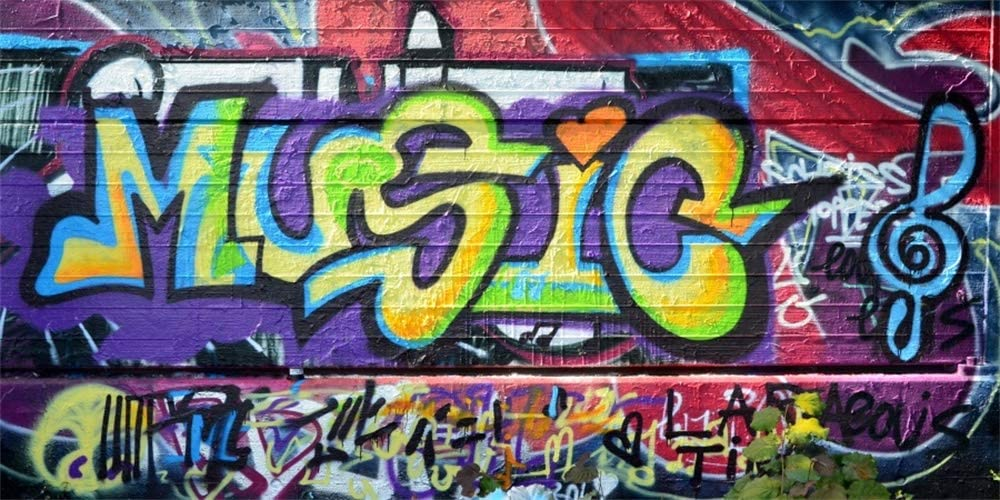 AOFOTO 10x5ft Music Graffiti Art Wall Backdrop Banner Poster 80s 90s' Events Hip Hop Party Decorations Concert Club Colorful Scrawl Background for Photography Photo Studio Props Vinyl