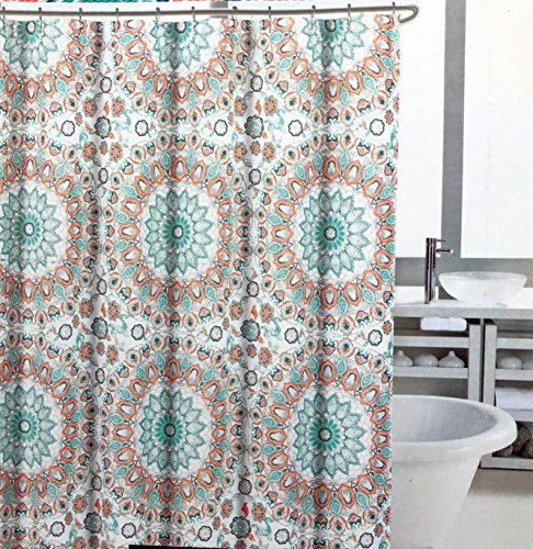 Cynthia Rowley Fabric Shower Curtain Geometric Intricate Round Medallions Pattern in Shades of Blue and Peach Salmon - Tapestry Medallion