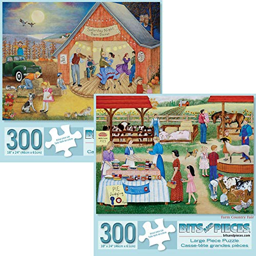 Bits and Pieces - Value Set of Two (2) 300 Piece Jigsaw Puzzles for Adults - Each Puzzle Measures 18 X 24 - 300 pc Jigsaws by Artist Kay Lamb Shannon