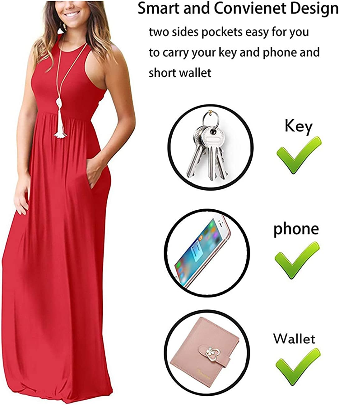 GRECERELLE Womens Sleeveless Racerback Loose Plain Maxi Dresses Casual Long Dresses with Pockets